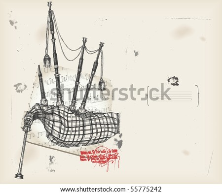 Bagpipe  drawing- music instrument with score- background - stock vector