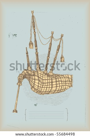 Bagpipe drawing- traditional instrument - stock vector