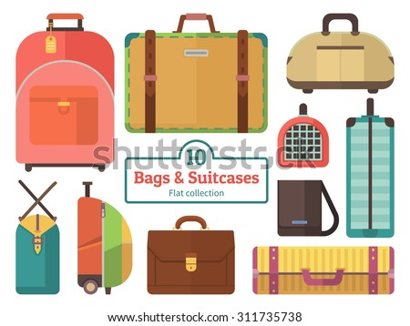 Bags and suitcases collection. Set flat vector icons  - stock vector