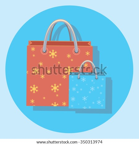 bags circle icon with shadow - stock vector