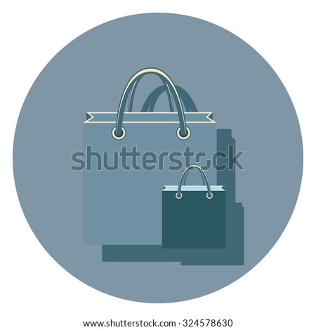 bags flat icon in circle - stock vector