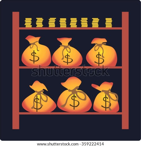 Bags with money in the bank vault. Stacks of gold coins and bags of money suitable for icons and symbols for the business. - stock vector