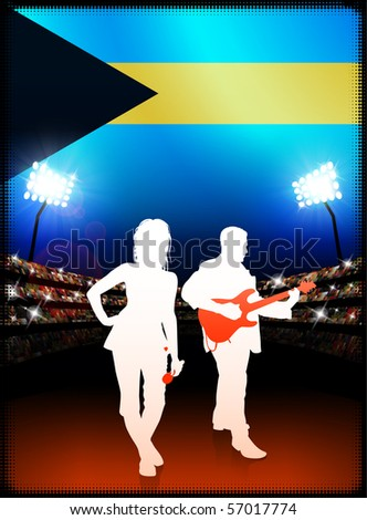 Bahamas Flag with Live Music Band on Stadium Background Original Illustration - stock vector