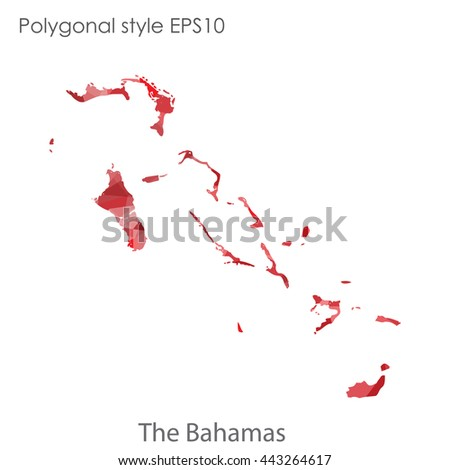 Bahamas map in geometric polygonal style.Abstract gems triangle,modern design background.Vector illustration EPS10