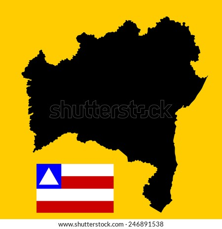 Bahia, Brazil, vector map and flag isolated on background. High detailed silhouette illustration. Original Bahia flag isolated vector in official colors and Proportion Correctly - stock vector