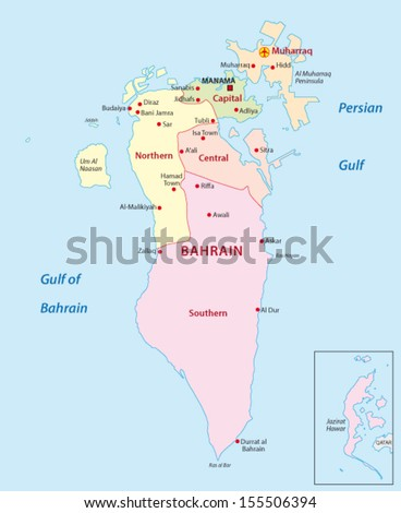 Bahrain political map capital manama island vectores en stock bahrain administrative map gumiabroncs Image collections