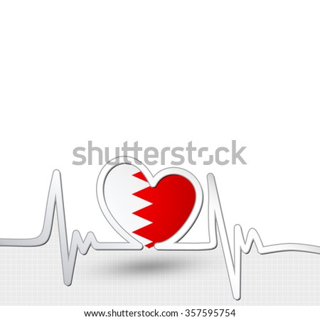 Bahrain flag heart and heartbeat line. Patriotic vector background.
