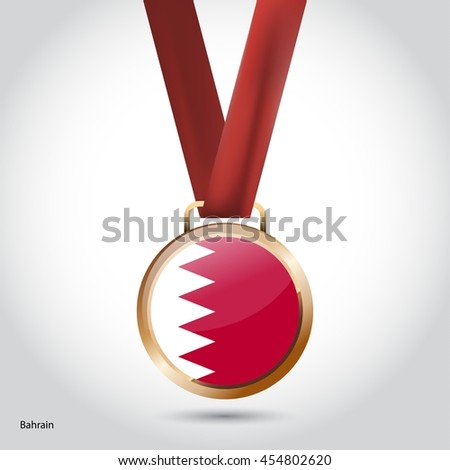 Bahrain Flag in Bronze Medal. Olympic Game Bronze Medal. Vector Illustration - stock vector