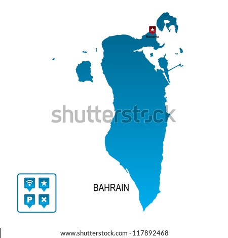 Bahrain Map Vector Bahrain Map Stock Vector