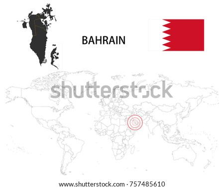 Bahrain map on world map flag stock vector 2018 757485610 bahrain map on a world map with flag on white background gumiabroncs Images