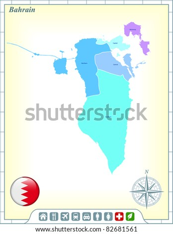 Bahrain Map with Flag Buttons and Assistance & Activates Icons Original Illustration - stock vector