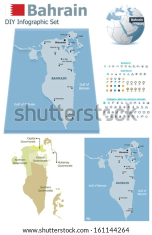 Bahrain  maps with markers - stock vector
