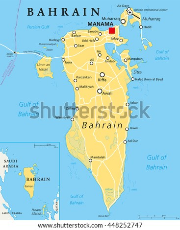Bahrain map stock images royalty free images vectors shutterstock bahrain political map with capital manama island country archipelago and kingdom near western shores gumiabroncs Choice Image