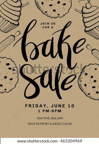 bake sale card template design hand stock vector 463304969