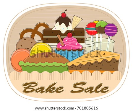 bake sale clipart assorted pastries bake stock vector hd royalty rh shutterstock com bake sale clip art images free bake sale clip art black and white
