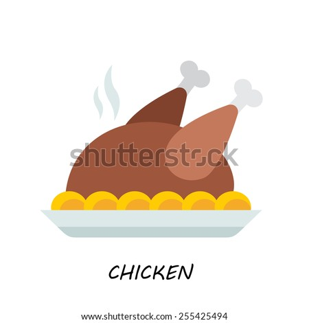 Baked chicken, turkey. flat style - stock vector