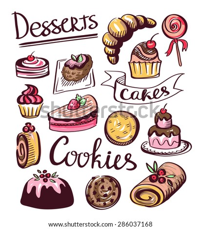 Baked sweet food icons. Cake, cookie, donut. Vector labels, logos for restaurant menu. - stock vector