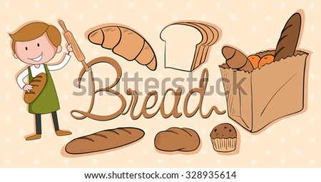 Baker and different kind of bread illustration - stock vector