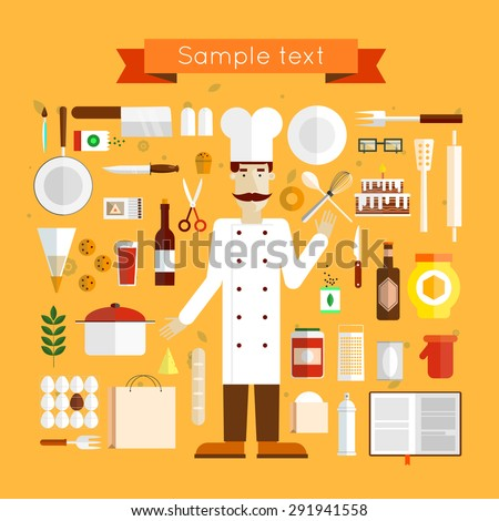 Baker and icons Baking. Flat design vector illustration. - stock vector