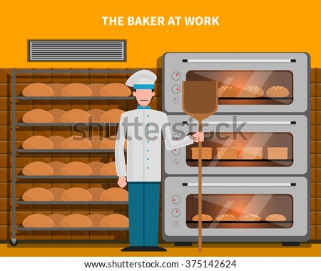 Baker at work concept with bread oven flat vector illustration - stock vector