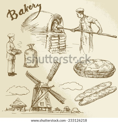 baker, bread, windmill - hand drawn collection - stock vector