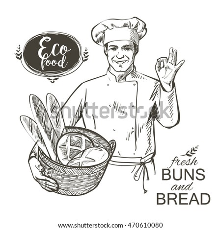 baker in uniform carrying a basket with baked bread vector illustration