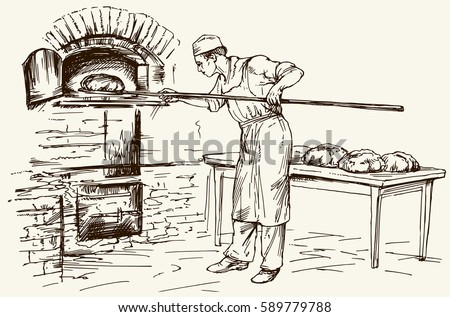 Baker introducing bread in a classic oven. Hand drawn illustration.