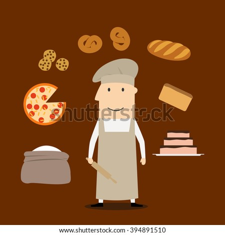 Baker profession concept with man in chef hat and tunic with flour and rolling pin, , bread and pie, pizza and cookies, bread and loaf - stock vector
