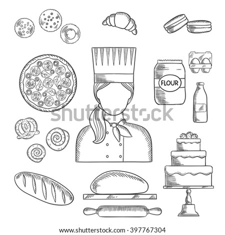 Baker profession icons with bread and cake, pizza and macarons, croissant and cupcakes, cookies and pretzel, cinnamon rolls and dough with rolling pin, milk and flour, eggs and baker in chef uniform - stock vector