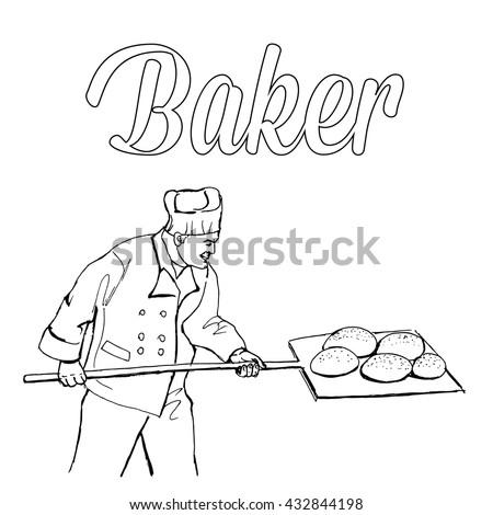 Baker. Whiteboard black and white drawing. Hand drawn baker vector stock illustration.  - stock vector