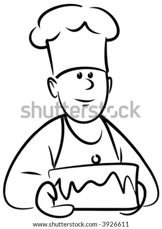 Baker with cake (Vector) - stock vector