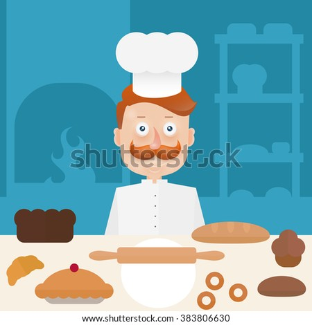 Baker with  mustache in cap at the bakery at the table. Flat line illustration. - stock vector