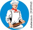 Baker with rolling pin kneading dough - stock vector