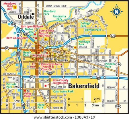 bakersfield california area map stock vector shutterstock