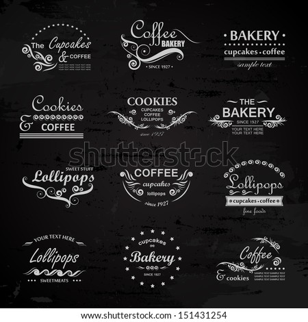 Bakery And Cafe Labels Set - Isolated On Black Background - Vector Illustration, Graphic Design Editable For Your Design. Bakery Logo - stock vector