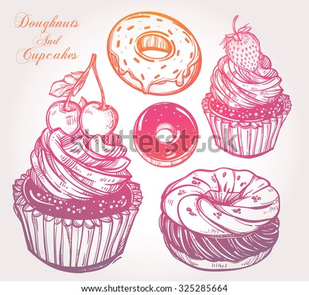 Bakery and dessert pastry icons set.  Hand drawn sketch confections: donuts  (doughnuts) and cupcakes. Isolated vector illustration. Excellent for creating your own menu design. - stock vector