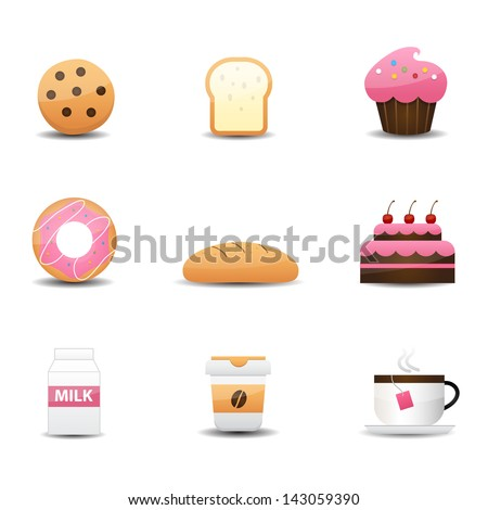Bakery and drink icons - stock vector
