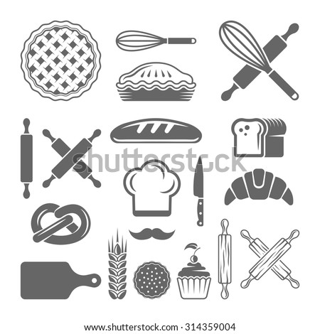 Bakery and pastries set of vector design elements on white background, kitchen tools, confectionery and pastry tools black design elements, bread shop silhouette icons and elements - stock vector