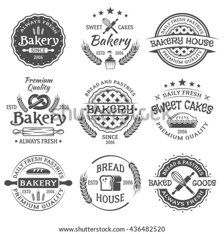 Bakery and pastries set of vintage vector black labels, emblems, badges and design elements isolated on white background - stock vector