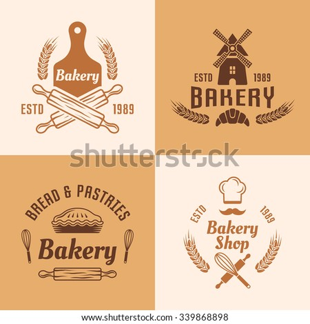 Bakery and pastries vector colored labels, badges, emblems and logos for bakery shop production - stock vector