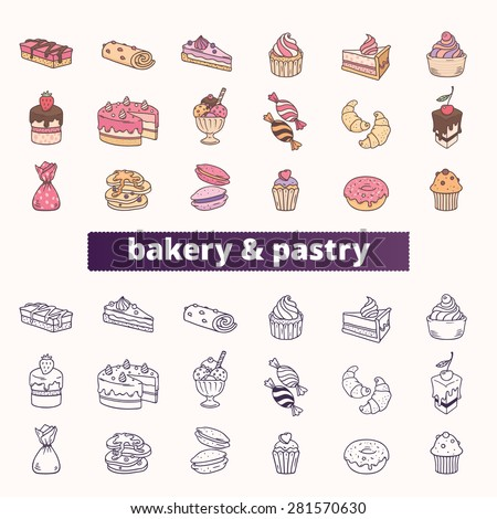 Bakery and pastry icons. Big vector set of colorful and outline signs of ice cream, chocolate, cake, cupcake, donut, candy and pancake.  - stock vector