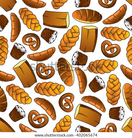 Bakery and pastry seamless pattern of golden long loaves and whole grain bread, glazed cupcakes with raisins, french croissants, salted pretzels and sweet buns with poppy seeds