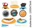 Bakery Badges, Ribbons And Ice Cream - Vector Illustration, Graphic Design Editable For Your Design. Logo Symbol - stock vector