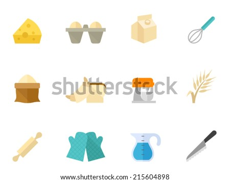 Bakery baking icon series in flat colors style. - stock vector