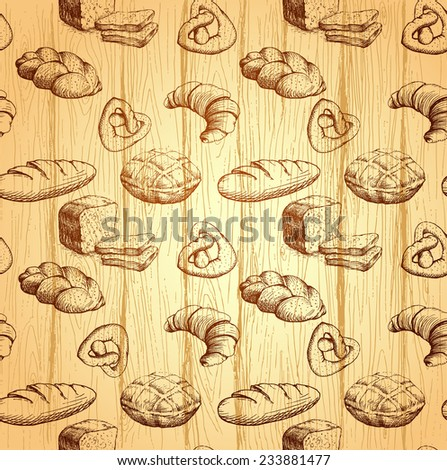 bakery bread. seamless background pattern. labels pack for bread.