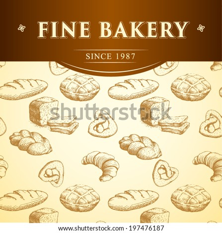 bakery bread.  seamless background pattern. labels pack for bread, baguette, loaf, cake, baked, croissant,bun