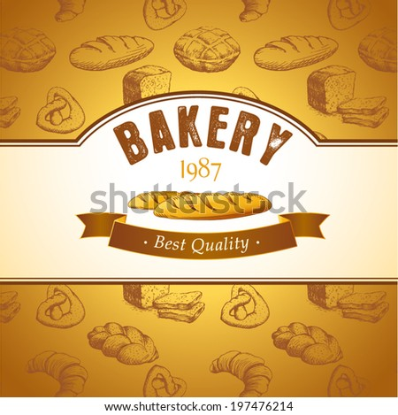 bakery bread.  seamless background pattern. labels pack for bread, baguette, loaf, cake, baked, croissant,bun - stock vector