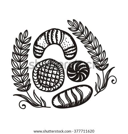 Bakery bread wheat vector illustration - stock vector
