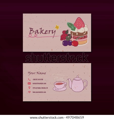 Bakery business card design template chalk stock vector royalty bakery business card design template with chalk pastry illustrations reheart Gallery