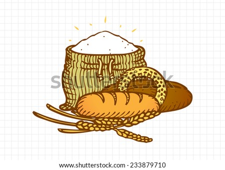 Bakery Composition, Flour Bag Bread and Wheat, Classic Etching Style, Colored Outlines - stock vector